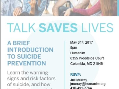 Close out Mental Health Awareness Month with Talk Saves Lives