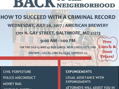 Back to the Neighborhood Community Event: How to Succeed with a Criminal Record