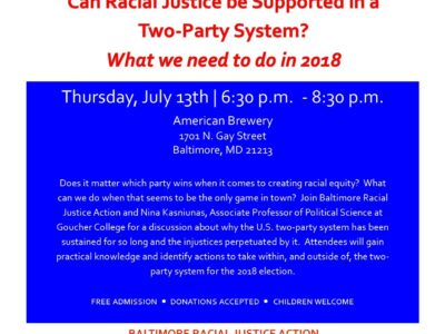 Join us for Baltimore Racial Justice Action's July Event at Humanim