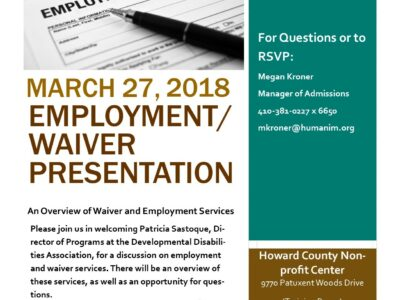 Event: DDA Employment and Waiver Services