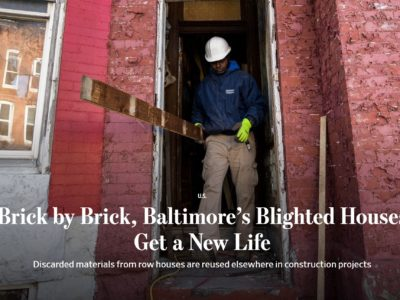 "From the Wall Street Journal: ""Brick by Brick, Baltimore's Blighted Houses Get a New Life"""