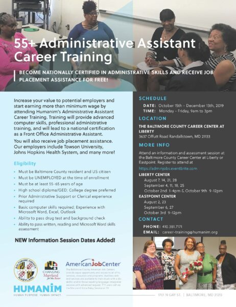 55Admin Assistant Training Flyer Fall19 Updated 1 462x600