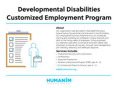 Program Spotlight:  Developmental Disabilities Customized Employment Program