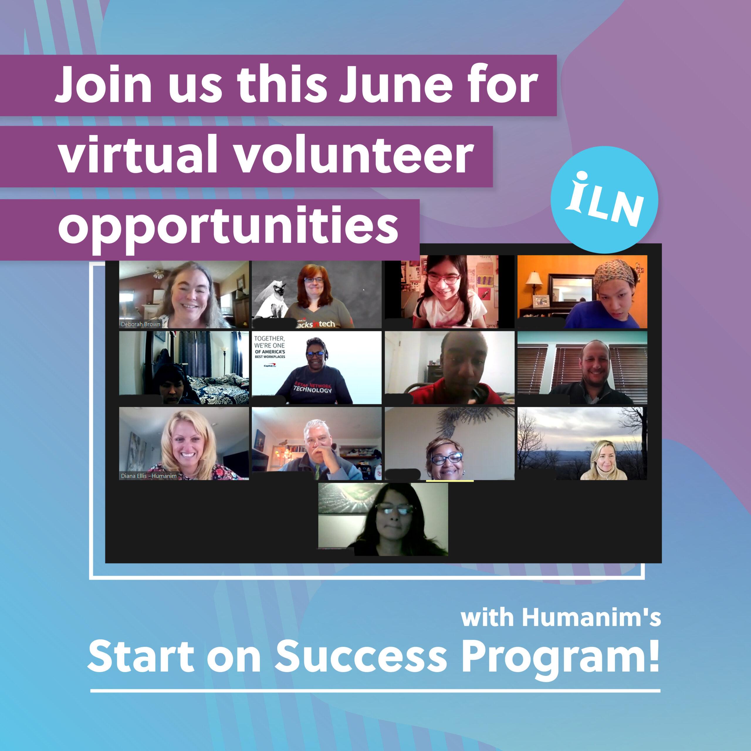 Virtual Volunteer Opportunities with Humanim's Start on Success Program